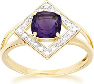 Yellow Gold 9k Cushion Amethyst 6x6mm and Round Diamond Promise Ring Size 6, 7, and 7.5 Contemporary Design for Women Febr...