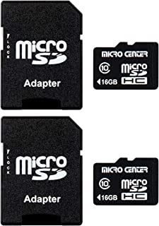 Micro Center 16GB Class 10 Micro SDHC Flash Memory Card with Adapter (2 Pack)