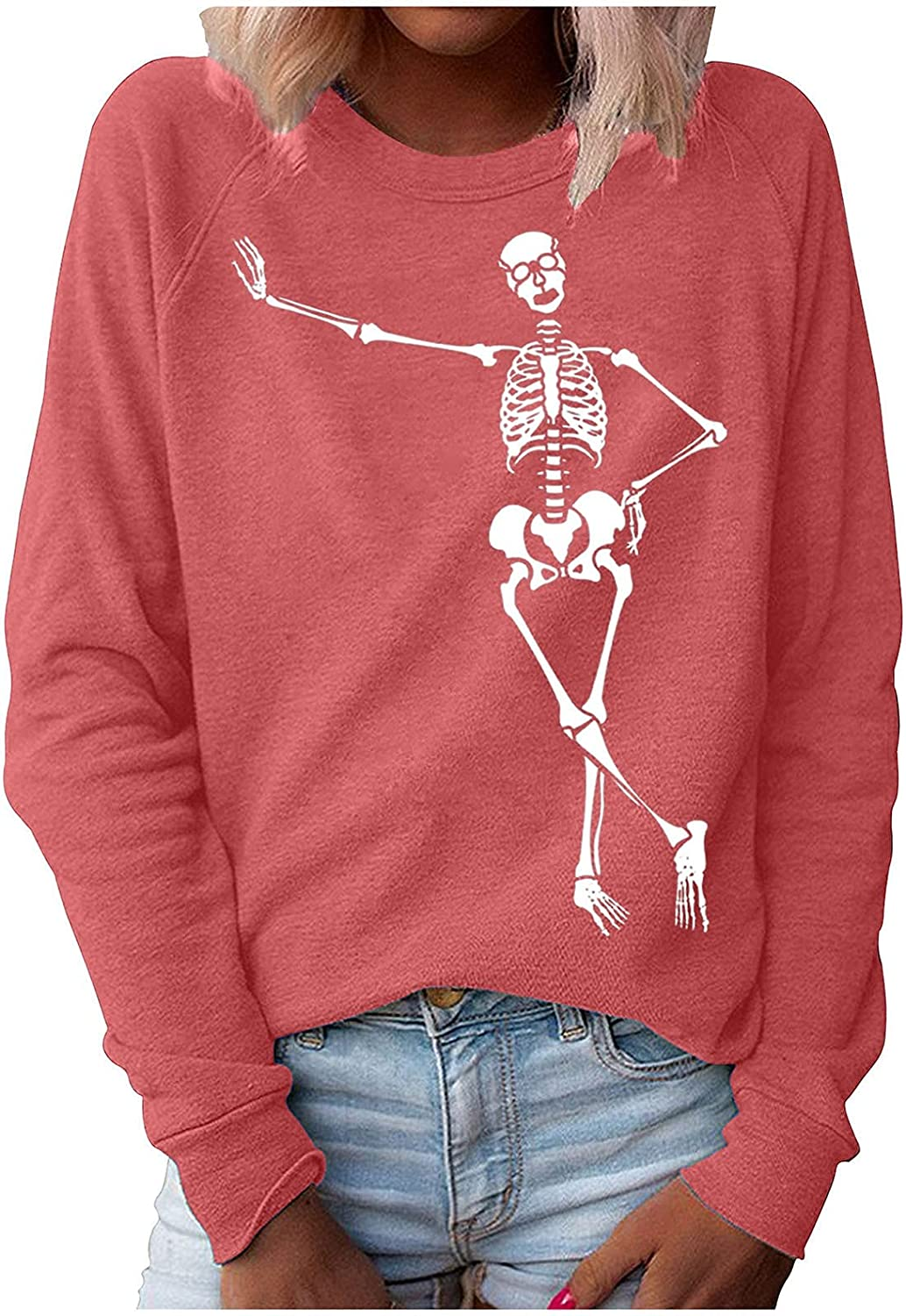Long Sleeve Shirts for Women specialty shop Skeleton SEAL limited product Halloween Print Pu Fashion