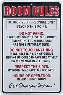 TG,LLC Treasure Gurus Room Rules Hours of Operation Metal Sign Funny Kids Bedroom Man Cave Decor