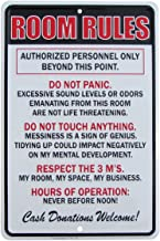 TG,LLC Room Rules Hours of Operation Metal Sign Funny Kids Bedroom Man Cave Decor
