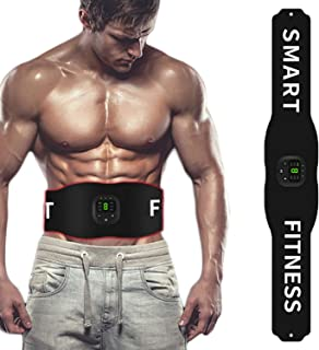 JOHNLOUISE Abs Stimulator Abdominal Trainer Ultimate Waist Trimmer,Weight Loss for Women Men, Smart Fitness ABS Abdominal Trainer with 6 Modes & 10 Levels Operation-Black (Black)