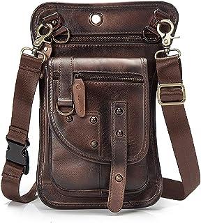 JIAJIA Locomotive Leather Harley Locomotive Cycling Pocket, American Retro Color Outdoor Hiking Mobile Phone Bag, Crossbody Bag, Material, Uniform Workmanship Sports