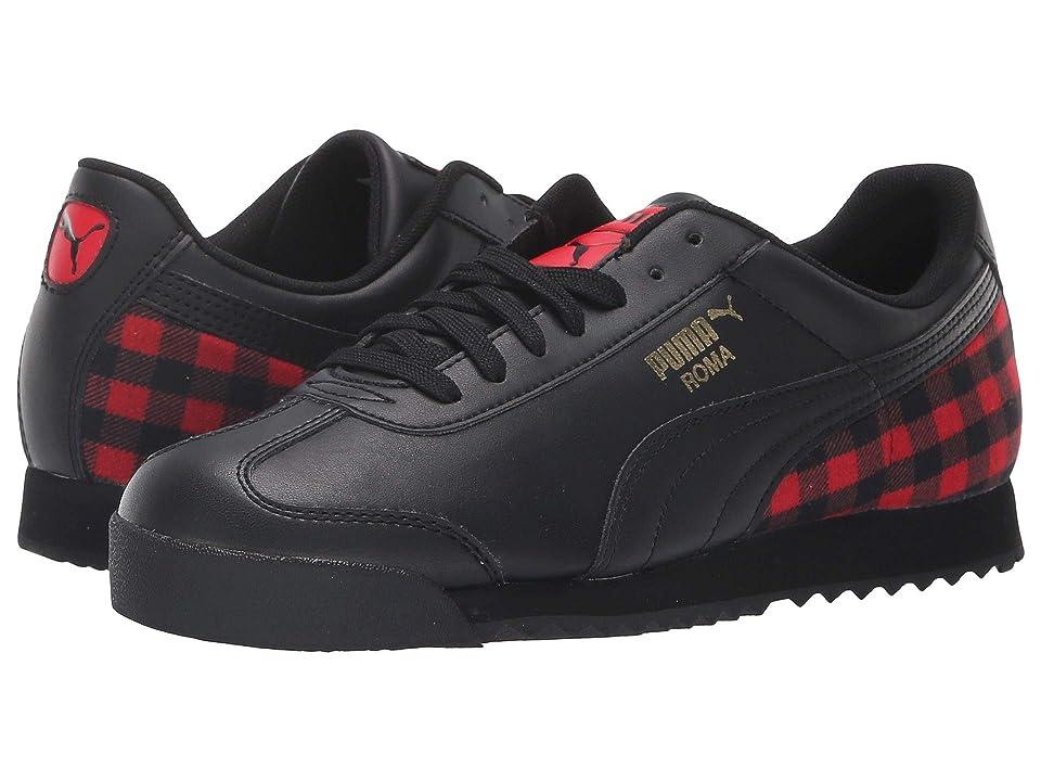 Puma Kids Roma Leather Flannel Jr (Big Kid) (Puma Black/Puma Team Gold/Ribbon Red) Kids Shoes