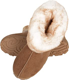 Women's Tipped Faux Fur Microsuede Super Soft Bootie Slippers With Indoor Outdoor Sole