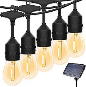 Solar Outdoor String Lights, 50FT S14 Solar Hanging Lights with Shatterproof 15+1 Bulbs, IP65 Waterproof LED Solar Patio Lights for Outdoor Backyard Bistro Porch Garden Cafe Party