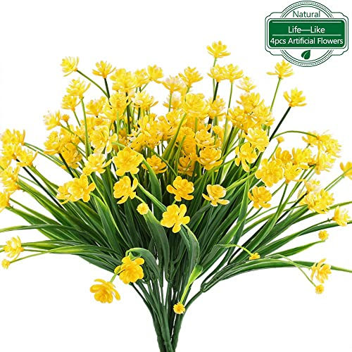MIHOUNION Artificial Fake Flowers 4Pcs Realistic Plastic Daffodils Flowers Greenery Shrubs Plants Bushes Indoor Outdoor UV Resistant Yellow Hanging Basket Planter Vase Pot Cemetery Decor
