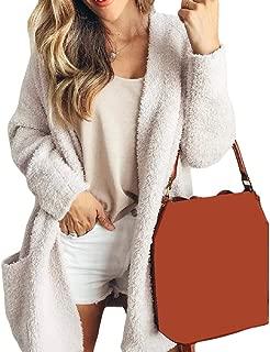 EnergyWomen Open-Front Mid-Long Solid Pocketed Velvet Relaxed Coat Jacket
