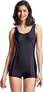 DELIMIRA Women's Slimming Boyleg One Piece Swimsuit Modest Swimwear