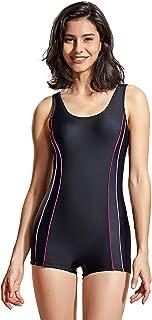 DELIMIRA Women's Slimming Boyleg One Piece Swimsuit Modest Swimwear