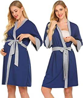 Maternity Nursing Robe,Delivery Nightgowns Hospital Breastfeeding Gown