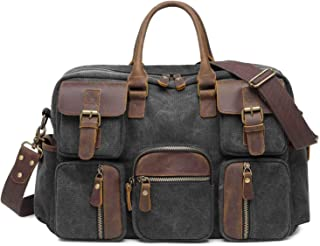 Neumora Vintage Multi-pocket Design Canvas Briefcase Should Bag for Men Travel Work