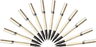 Uni-Ball Deluxe Rollerball Stick Pens, Fine Point 0.7mm, Black Ink, Champagne Barrel, Pack of 12