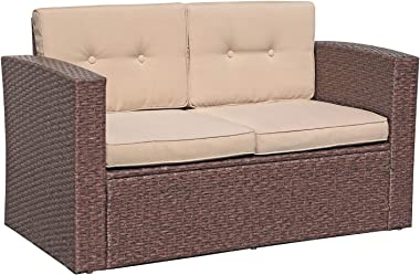 Super Patio Outdoor Wicker Loveseat Patio Furniture, Rattan Corner Sofa Chair with Beige Cushions, Additional Seats for Secti