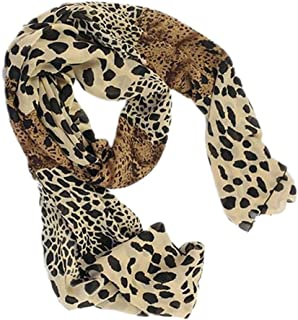 Bullidea Silk Scarf Women's Leopard Printing Decoration Chiffon Scarf Beach Ultra-thin Long Soft Wrap Scarf Shawl Scarf Sc...