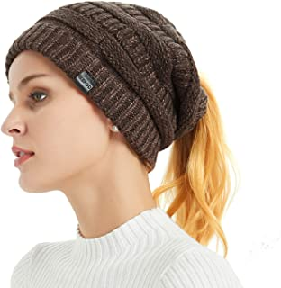 Merino Wool Knitted Bun Beanie - Women Hat Cap with Cute Pony Tail Hole