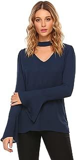 Womens Casual Chiffon Choker Cut Out V Neck Long Sleeve Blouses Tops