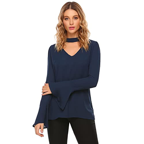 c758f1cccbed8 Zeagoo Womens Casual Chiffon Choker Cut Out V Neck Long Bell Sleeve Blouses  Tops