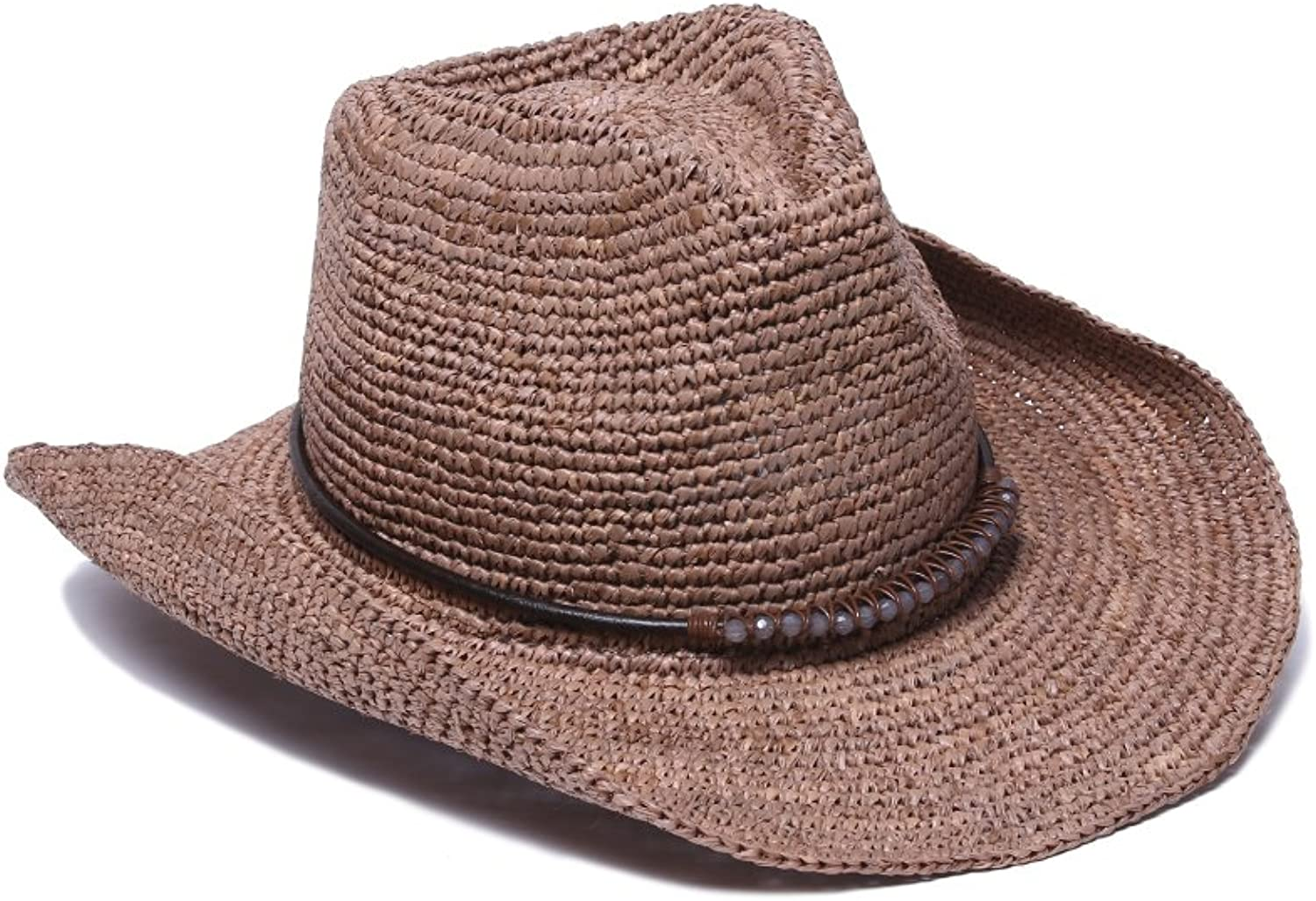'ale by alessandra Women's Cassidy Raffia Cowboy Hat with Beaded Trim and Memory Wire Brim