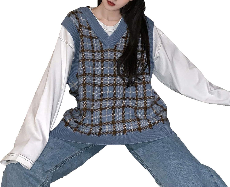 Vest Women Plaid Vintage Harajuku Stylish Street-wear V-Neck Sleeveless Sweaters