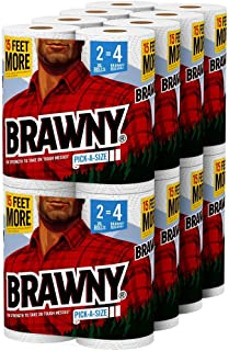 Brawny Paper Towels, 16 XL Rolls, Pick-A-Size, White, 16 = 32 Regular Rolls (2 Package)