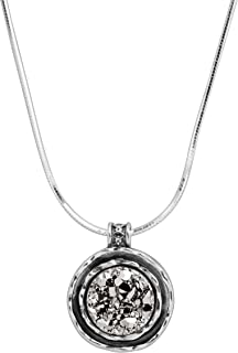 Vitality' Natural Druzy Scalloped Pendant Necklace in Sterling Silver