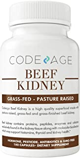 Codeage Grass Fed Beef Kidney, High in Selenium, B12, DAO, Supports Kidney, Urinary, Thyroid and Histamine Health, 3000mg per Servings, 180 Capsules