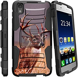 MINITURTLE Compatible with Alcatel Idol 4, Alcatel Nitro 49 Dual Layer Kickstand and Holster Black Case - Majestic Deer