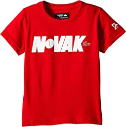 Lacoste Kids - Technical Jersey Novak Fan Writing Print T-Shirt (Little Kids/Big Kids)