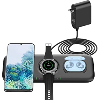 Yootech 3 in 1 Fast Wireless Charger, 22.5W Max Wireless Charging Pad with Adapter Compatible with Galaxy Watch 42mm/46mm/Active2/1,Gear S3/S2/Sport & Galaxy Buds,Galaxy S21/S20/S10/S9[Not for iWatch]