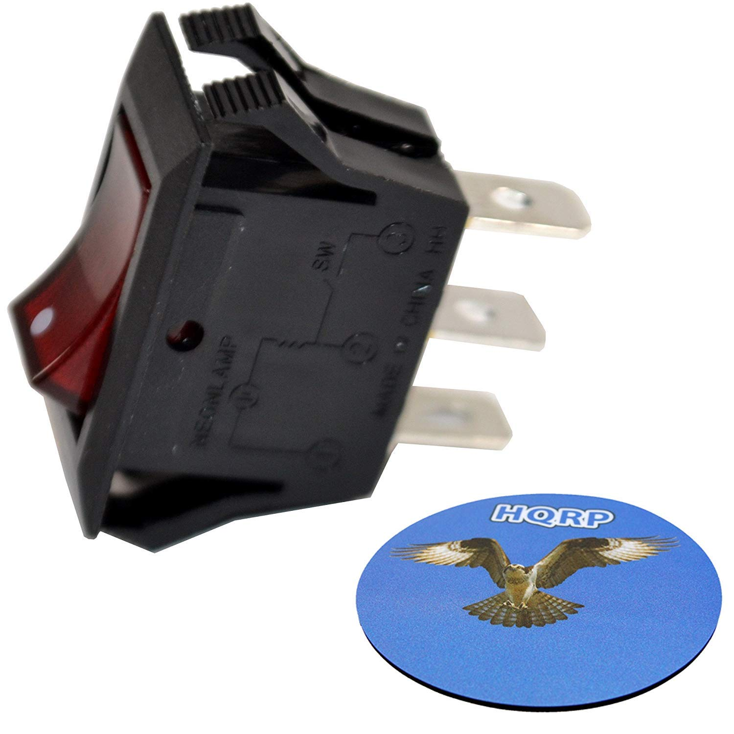 HQRP Red Lighted Rocker OFFer Switch ON Off Prong Neon Lam 15A 125V Houston Mall 3