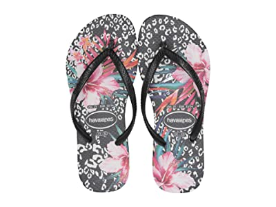 Havaianas Kids Slim Animal Floral (Toddler/Little Kid/Big Kid) (Black) Girls Shoes