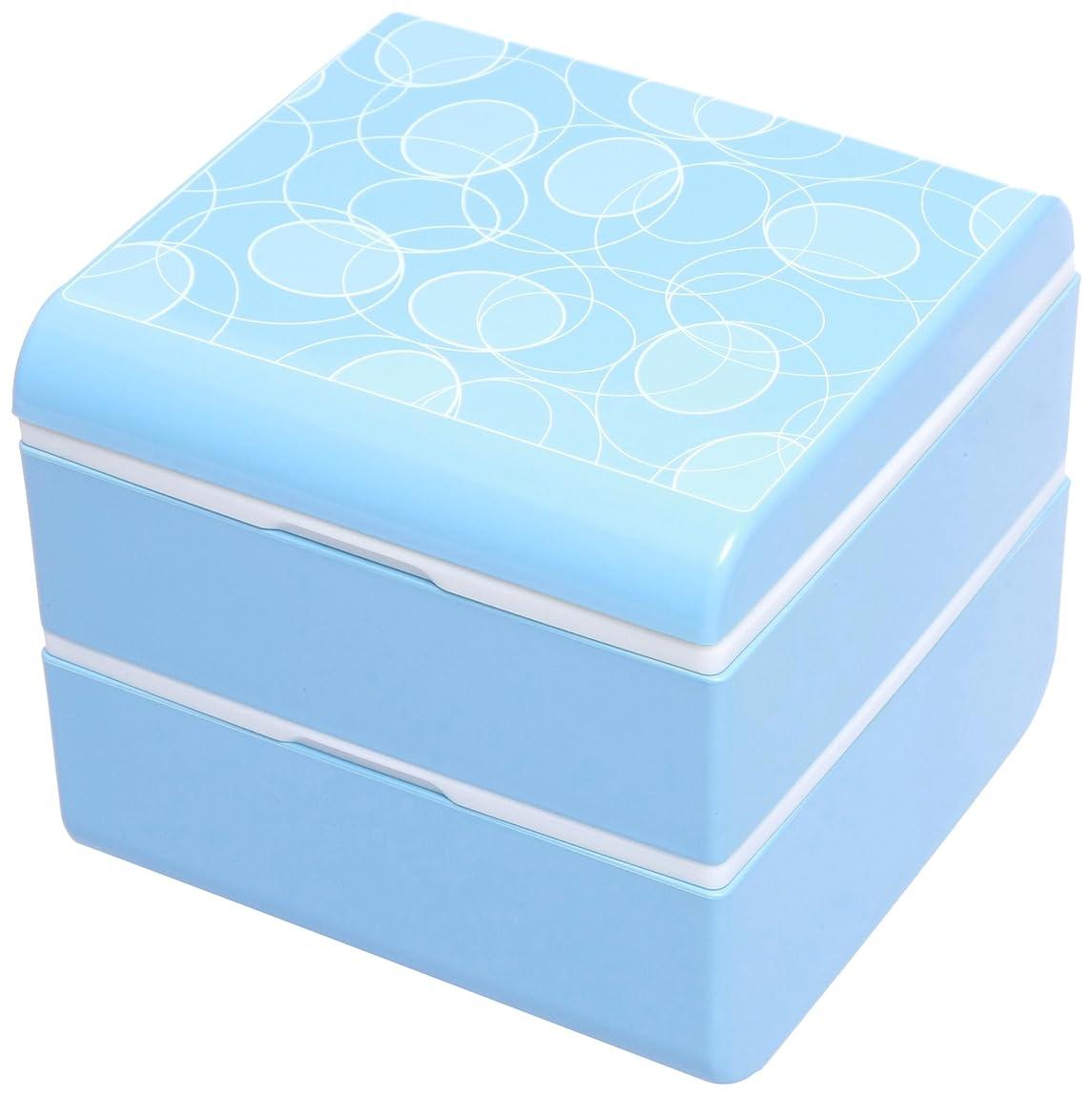 正和 『お弁当箱 2段』 wamoyou 正角二段弁当シャボン玉 ブルー