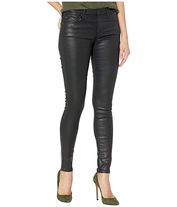 AG Adriano Goldschmied  The Leggings Ankle (Leatherette Light Super Black) Womens Casual Pants