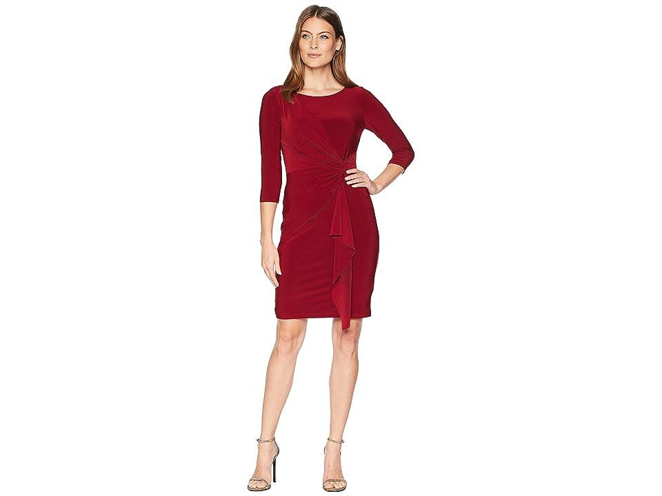 CHAPS Twisted-Knot Jersey Dress (Deep Carmine) Women