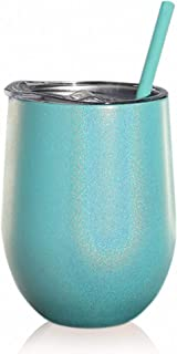 SassyCups Turquoise Glitter Tumbler | 12 Ounce Stainless Steel Vacuum Insulated Wine Tumbler with Closeable Lid and Reusable Straw | Iridescent Sippy Cup | Glittered Tumbler | Bling Sparkle Coffee Mug
