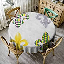 Lauren Russell Printed Tablecloth Mardi Gras Fleur De Lis Motifs with Mardi Gras Pattern Traditional Lily Flowers Collection Multicolor Dinning Round Tablecloth Diameter 36