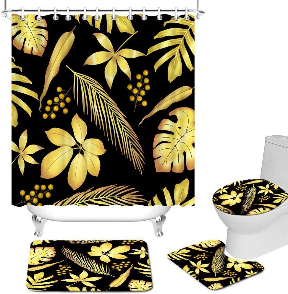 FuShvre 2020新作 4 Pcs Tropical Leaves Shower Set with Curtain 送料込 Non-Slip R