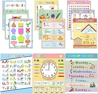 WIWAPLEX Preschool Educational Posters 17 x 13 Inch Printable Educational Posters for Toddlers Homeschool Preschoolers Kindergarten Classroom Teachers - Numbers Alphabet Colors Days and More 12 Pieces