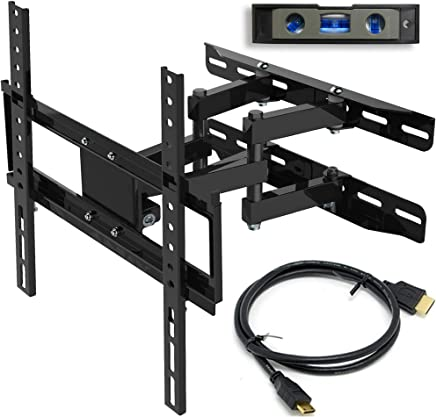 "Everstone TV Wall Mount Fit for Most 26""-60"" TVs Dual Articulating Arm Full Motion Tilt Swivel Bracket 14"" Extension Arm,LED,LCD,OLED& Plasma Flat Screen TV,Curved TV,Up to VESA 400mm,HDMI Cable"