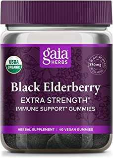 Gaia Herbs Extra Strength Black Elderberry Gummies, 40 Count
