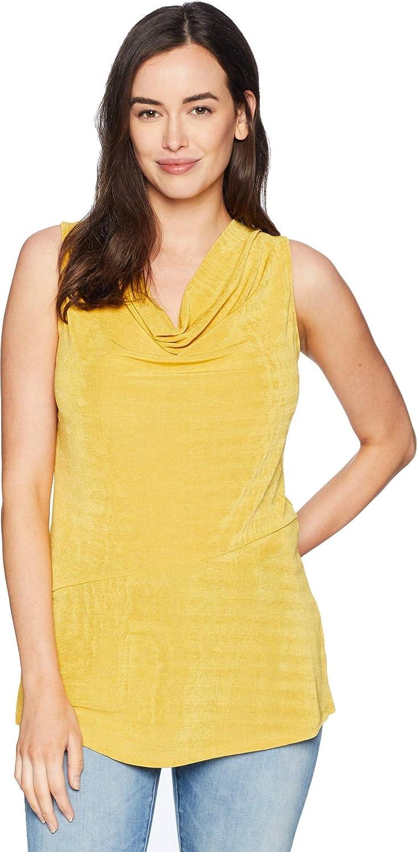 Ellen Tracy Womens Sleeveless Top with Asymmetrical Hem
