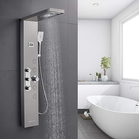 Dor/é Panneau de douche LED en acier inoxydable avec 5 fonctions affichage de la temp/érature et 10 buses de massage