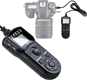 JJC Intervalometer Timer Remote Shutter Cord for Nikon P1000 P7700 P7800 D3100 D3200 D3300 D5000 D5100 D5200 D5300 D5500 D5600 D7000 D7100 D7200 D7500 D600 D610 D750 Df Z6 Z7, replace Nikon MC-DC2