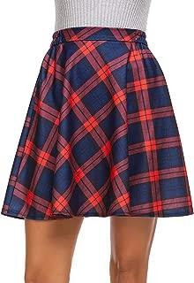 Women's Plaid Flared Skirt A-Line High Elastic Tartan Pleated Winter Warm Wool Skirts Short