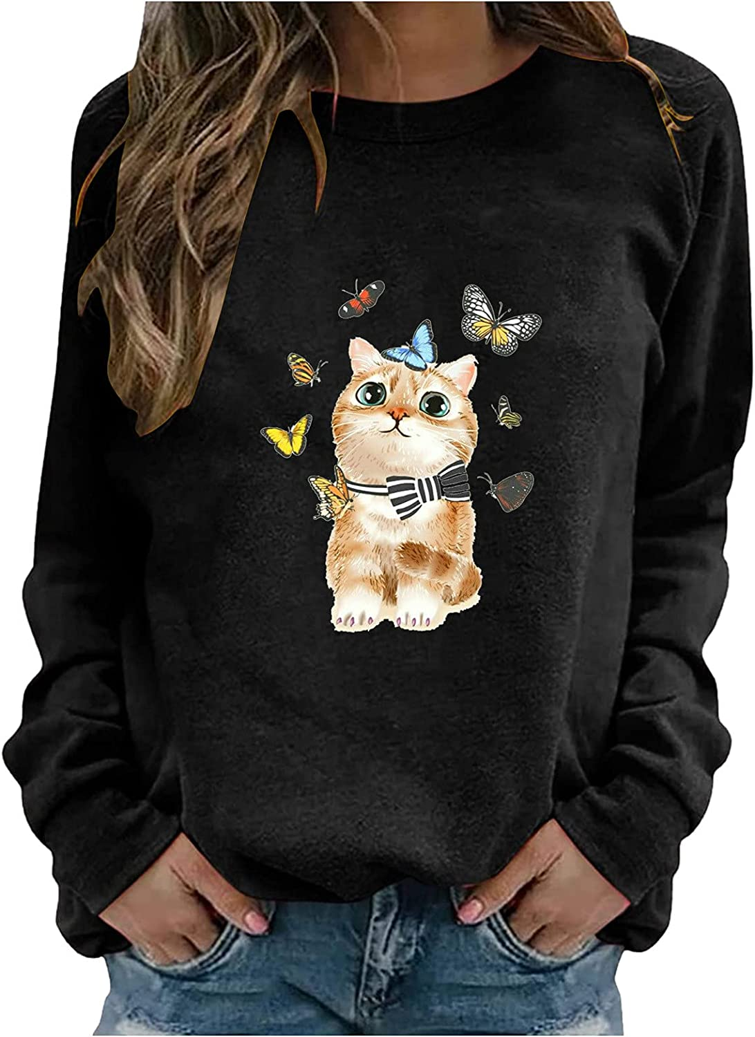 Crewneck Sweatshirts for Women Graphic Cute Cat Print Long Sleeve Pullover Tops Shirts Blouse Sweaters for Teen Girls
