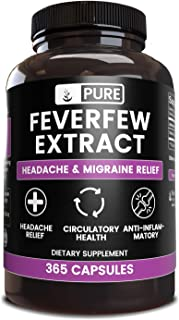 Natural Feverfew Extract, 365 Capsules, 570 mg Servings, No Stearates or Filler, Traditional Herbal Remedy, Lab Verified P...