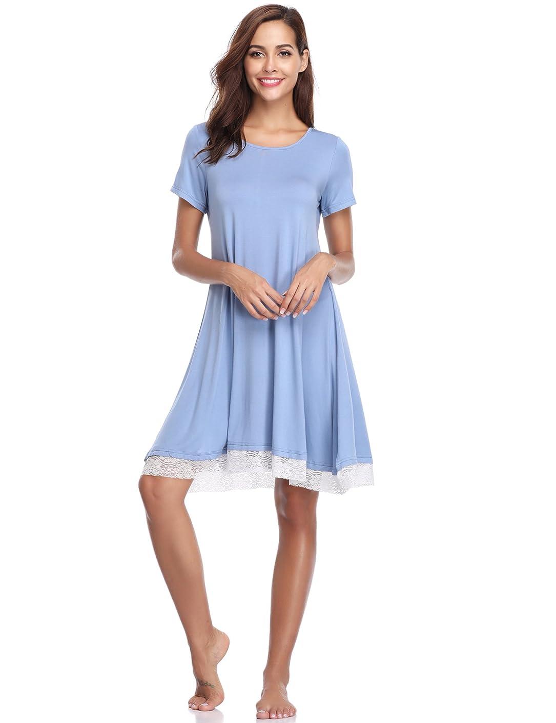 Aibrou Womens Nightgown Short Sleeve Ultra-Soft Lace Trim Summer Nightdress Lounge Sleepwear