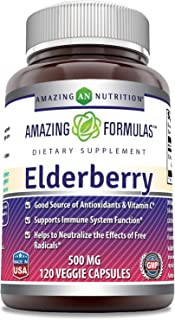 Sponsored Ad - Amazing Formulas Elderberry 500mg 120 Veggie Capsules -Equivalent to 5000 mg -Supports Immune System Health...