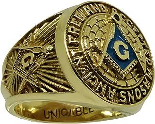 UNIQABLE Amazing 10K Havy Solid Yellow Gold Masonic Freemason Mans Ring Size KTR010Y10